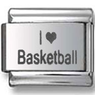 I Love Basketball Italian Charm
