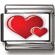 Large and Small Heart Italian Charm
