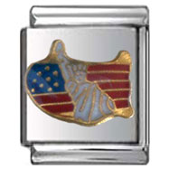 American Flag and Statue of Liberty Italian Charm 13mm