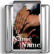 Custom Hands in Marriage Names Photo Charm