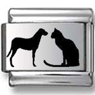 Cat & Dog Silhouette Laser Charm