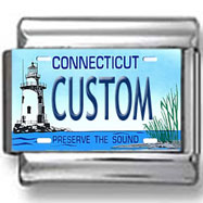 Connecticut License Plate Custom Charm