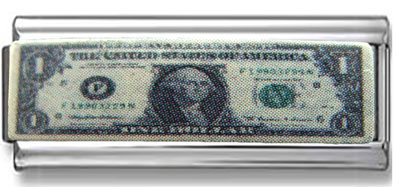 Dollar Bill Double Link Enamel Charm