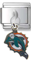 Miami Dolphins Dangle Silver Charm